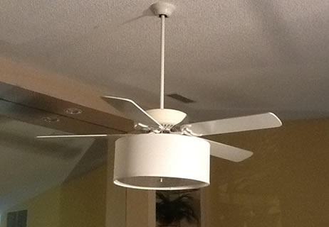 ceiling fan linen drum shade light kit