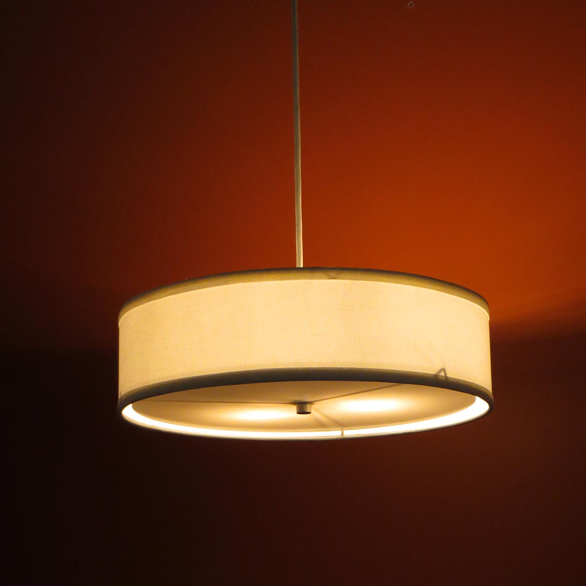 Low Profile Pendant Linen Drum Shade S T Lighting Llc