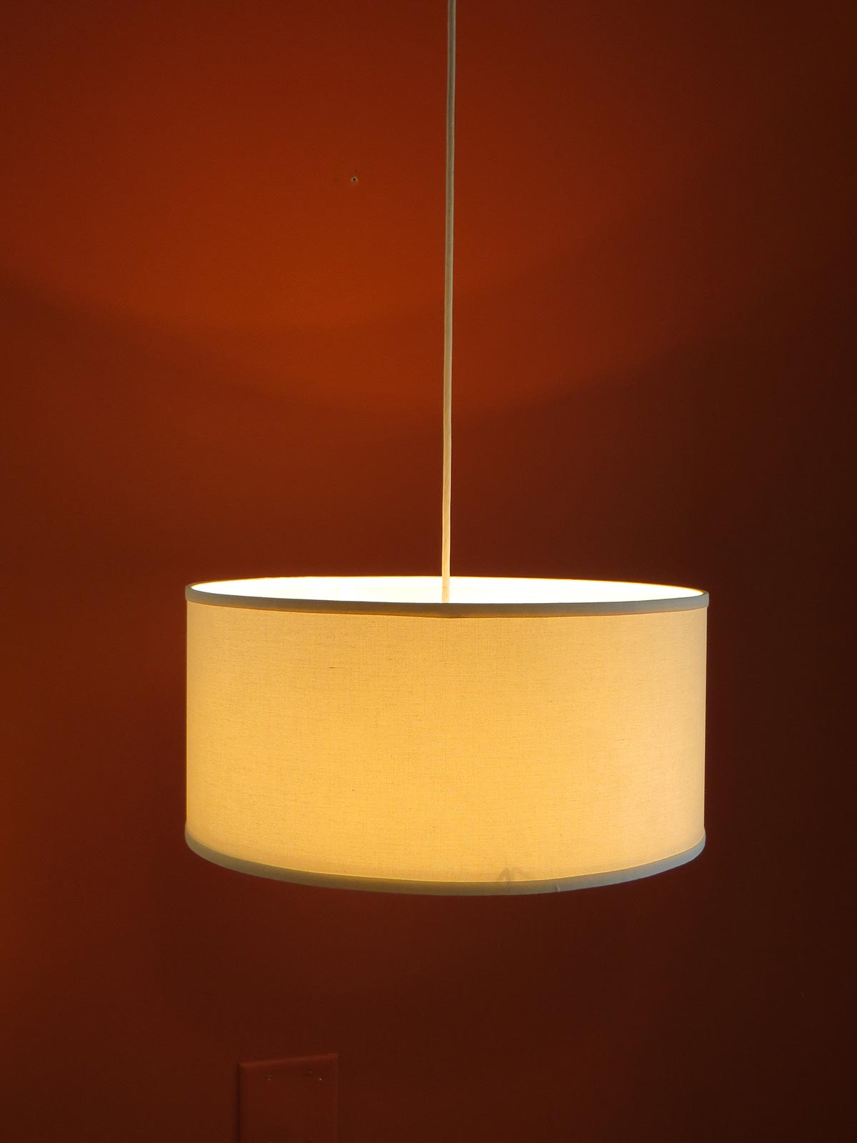 Low Profile Pendant Linen Drum Shade S T Lighting Llc