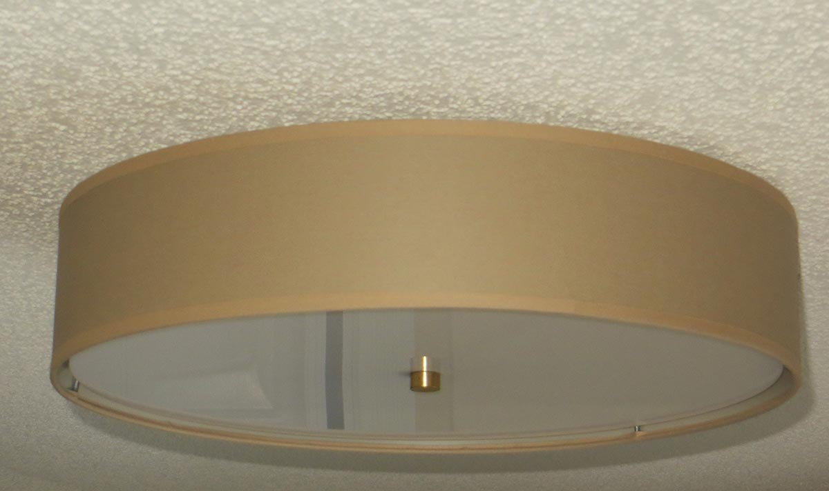Flush Mount Linen Drum Shade Light Fixture S T Lighting