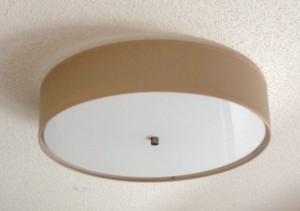 Flush Mount Linen Drum Shade Light Kit