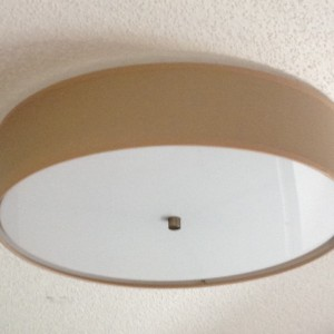 Flush Mount Linen Drum Shade Light Kit